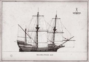 1620 Mayflower pen ink study
